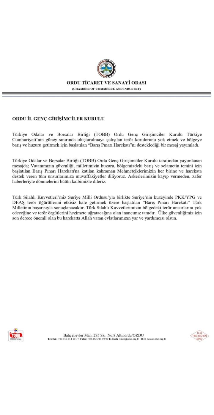 Türkiye Odalar ve Borsalar Birliği (TOBB) Ordu Genç Girişimciler Kurulundan Barış  Pınarı Açıklaması