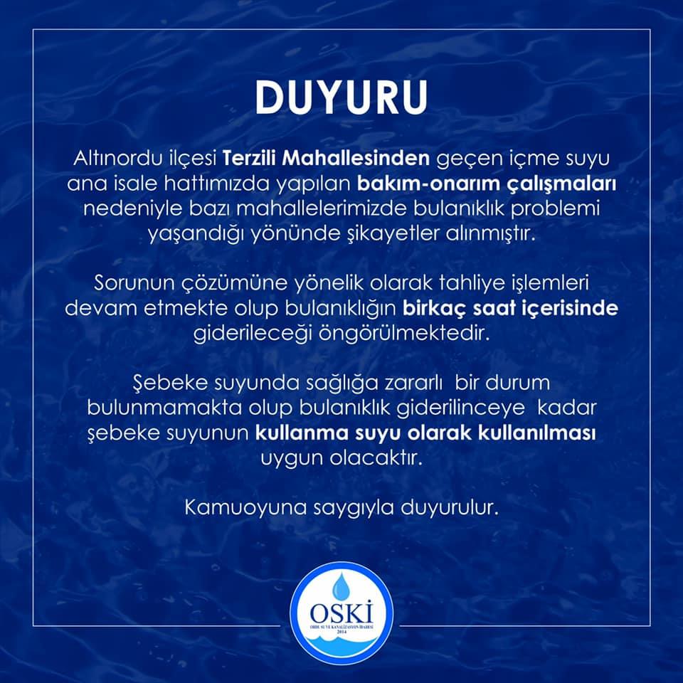 OSKİ'DEN DUYURU